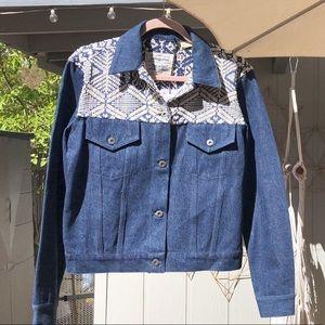 Levi's Denim jacket w/ white stitching & tassels